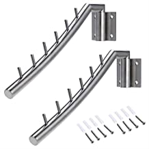 Wall Mount Clothing Rack - 2 Pack - Stainless Steel Hanging Drying Clothes Hanger with Swing Arm Holder - Heavy Duty Laund...