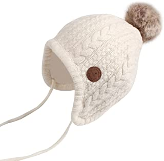 8161f11459d Cutegogo Crochet Baby Beanie Earflaps Toddler Girl Boy Knit Infant Hats  Warm Cap Lined Polyester