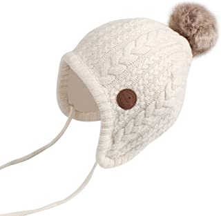Cutegogo Crochet Baby Beanie Earflaps Toddler Girl Boy Knit Infant Hats Warm Cap Lined Polyester
