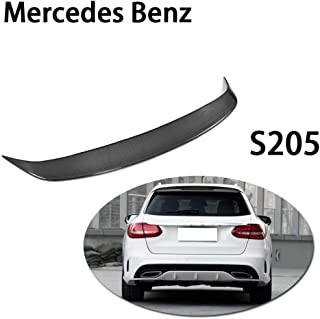 QCWY Car Rear Roof Boot Lip Wing Spoiler For Mercedes Benz S205 Wagon Hatchblack Only 4-Door 2015-2018 Carbon Fiber CF Rear Trunk Boot Lip Wing Spoiler