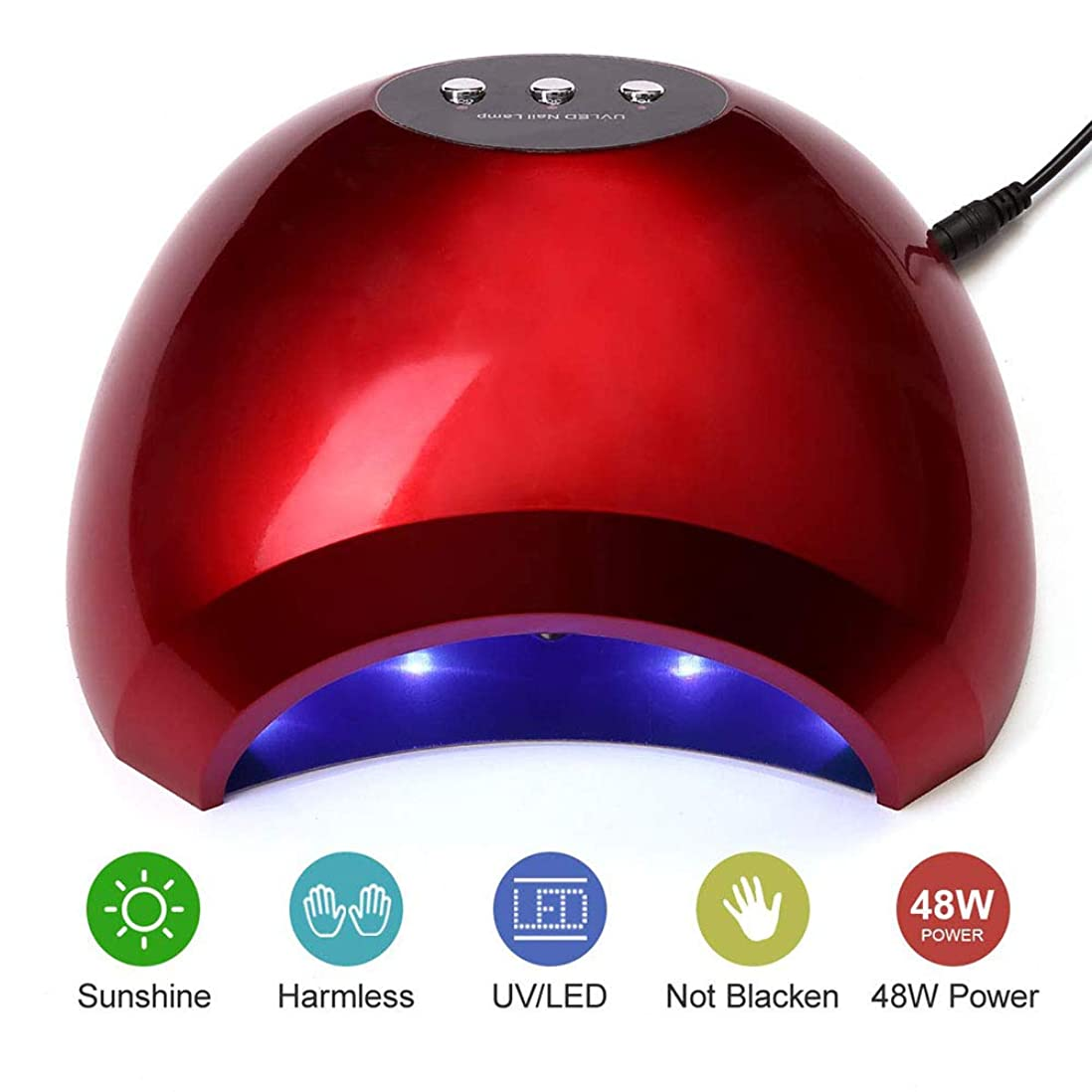 なぞらえるフォルダ妻ネイルドライヤーランプ48W UV LEDネイルキュアランプライトソークオフネイルジェルランプマニキュアペディキュアドライヤー付きセンサー高速