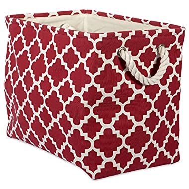 """DII Collapsible Polyester Storage Basket or Bin with Durable Cotton Handles, Home Organizer Solution for Office, Bedroom, Closet, Toys, Laundry (Large – 18x12x15""""), Rust Lattice"""