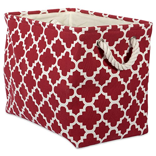 DII Printed Polyester, Collapsible and Convenient Storage Bin to Organize Office, Bedroom, Closet, Kid's Toys, Laundry -Large Rectangle, Rust Lattice