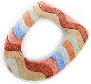 Main Blue Multicolor Coral Velvet Toilet Seat Cushion Sticky Washable Washroom Soft Warm Closestool Mat