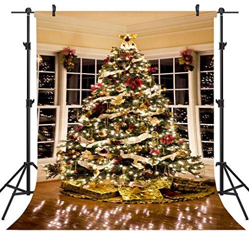 OUYIDA 5X7FT Christmas Tree Decorating Vinyl Photography Backdrop Photo Background Studio Prop CEM02