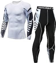 Sportbekleidung Herren Fitness Bekleidung Trainingsanzug 2pcs Set, Lange Ärmel Kompressions T-Shirt Lang Laufhose Fitness Tights Yoga Sport Leggings