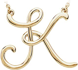 Black Bow Jewelry 14k Yellow Gold, Olivia Collection, Medium Script Initial K Necklace