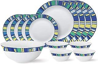 Larah by Borosil - Tiara Series, Sapphire, 13 Pcs, Opalware Dinner Set, White