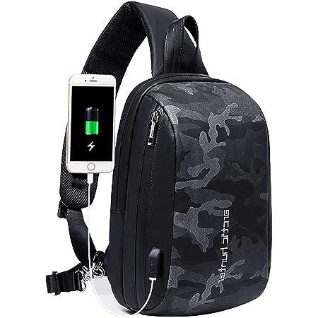 Arctic Hunter Sling Bag Herren, Brusttasche mit USB, Wasserdicht, Anti-Diebstahl, Crossover Bag zum Radfahren, Wandern, Reisen