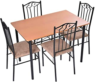 Dining Set Wood Metal Table and 4 Chairs Kitchen Breakfast Furniture 5PC