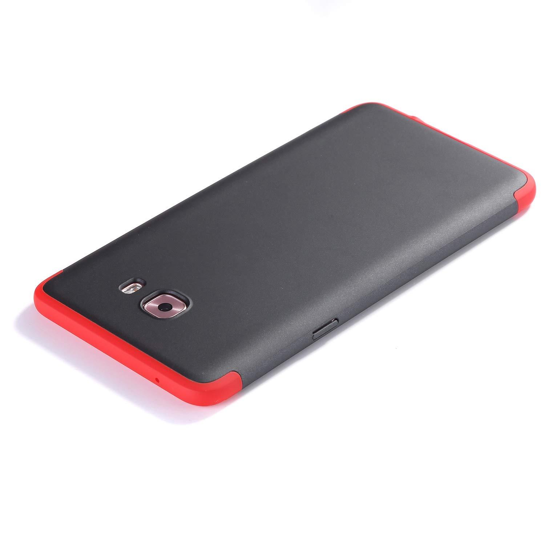 Surakey Compatible con Samsung Galaxy C9 Pro Full Body Cover de plástico, Rosso + Nero: Amazon.es