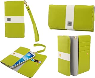 DFV mobile - Funda Premium con diseño Linea de Color con Tarjetero para hisense u971 - Pistacho