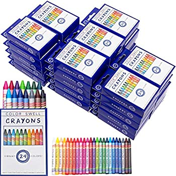 Color Swell Crayons Bulk Packs - 36 Boxes of 24 Vibrant Colored Crayons of Teacher Quality Durable Classroom Pack for Kids Students Party Favors