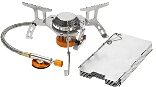 Lixada Camping Gas Stove,Convenient Piezo Ignition,Durable&Portable,Split Burner with Gas Conversion Head Adapter and Carrying Case(Optional)