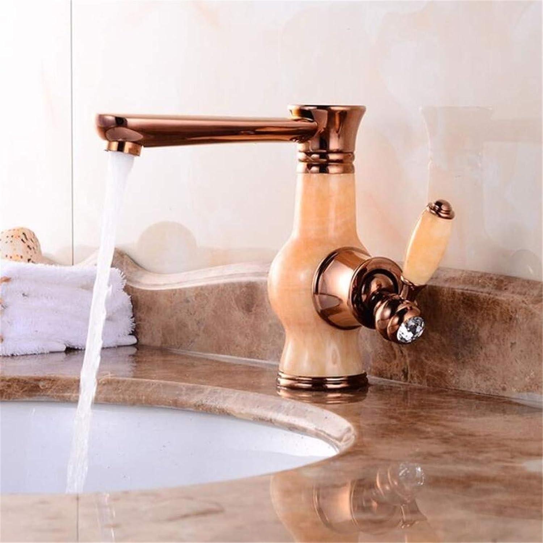 European Retro gold Faucets Bathroom Jade Single Handle Basin Mixer Tap Noble Gorgeous Swivel Copper Jade Basin Sink Faucet