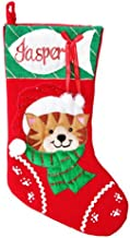 The Christmas Cart Personalised Gifts & Keepsakes Personalised Cat with Fish Christmas Stocking, Christmas Décor to Displa...