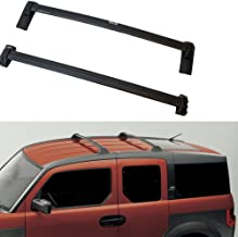 [Fengo] Set of Two ABS Plastic Black Roof Rack Cross Bars Fit on 2003-2011 Honda Element(Not for SC Model) No Cut No Drill Direct Bolt-on Installation – OE Style + 125lbs Load Capacity