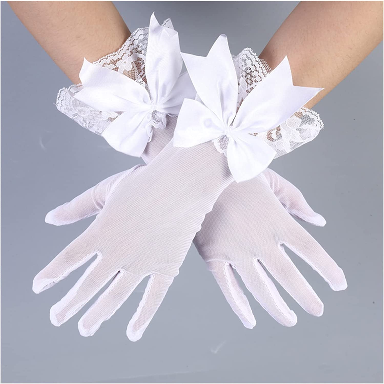 LANREN Women Lace Mesh Gloves Large Bow Knot Marriage Glove Party Cosplay Accessories (Color : 7)