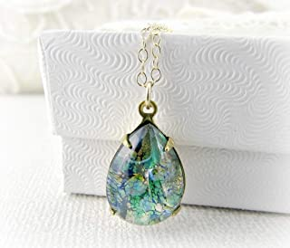 Green Simulated Opal Necklace- Pear Teardrop Pendant- 14K Gold Filled or Sterling Silver- Handmade Jewelry Women