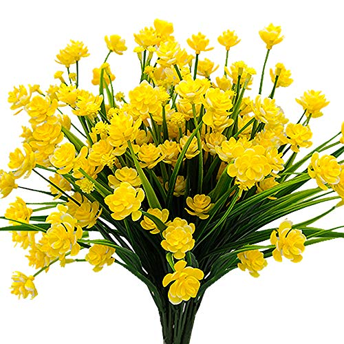 AITISOR Artificial Flowers Fake Outdoor Plants Faux UV Resistant Flower Plastic Shrubs Indoor Outside Hanging Decorations (Yellow)