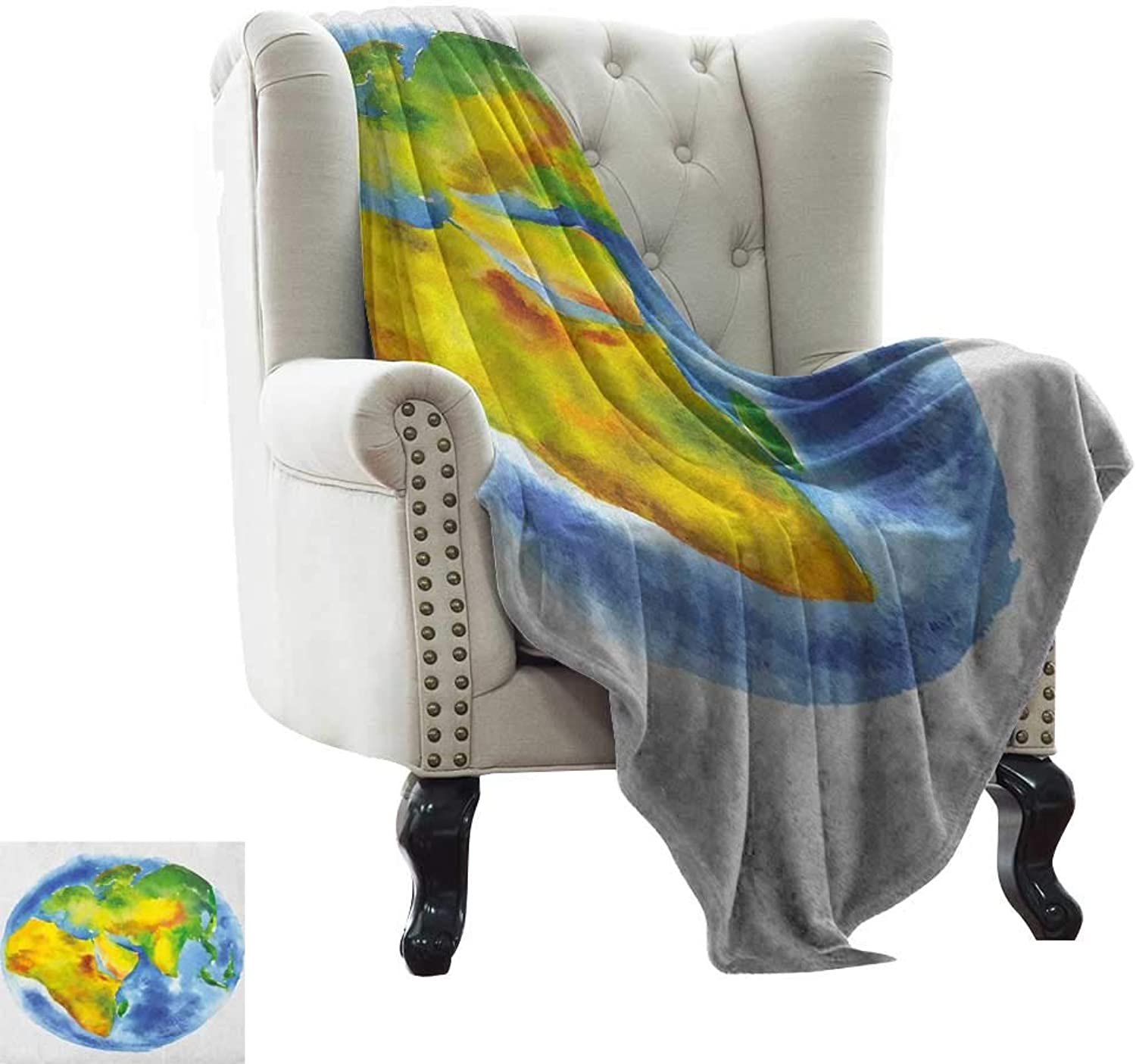 Throw Blanket Earth,Globe of Earth Painted in Watercolors Cartography Geography Continents, Pale bluee Green Yellow Weighted Blanket for Adults Kids, Better Deeper Sleep 50 x60