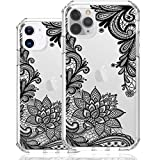 HUIYCUU for iPhone 12/12 Pro 6.1' Case, Shockproof Anti-Slip Glitter Cute Flower Print Clear Design Pattern Slim Crystal Soft Bumper Girl Women Cover Case Compatible with iPhone 12 Pro, Black Lace