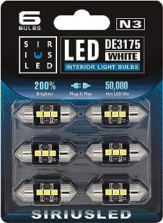 SIRIUSLED N3 DE3175 LED bulbs Pure white Super Bright LED Festoon 300 Lumens 3030 Chipset for Car Truck Interiors Dome Map...