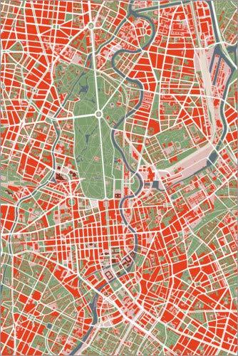 Posterlounge Lienzo 40 x 60 cm: City Map of Berlin, Colorful de PlanosUrbanos - Cuadro Terminado, Cuadro sobre Bastidor, lámina terminada sobre Lienzo auténtico, impresión en Lienzo