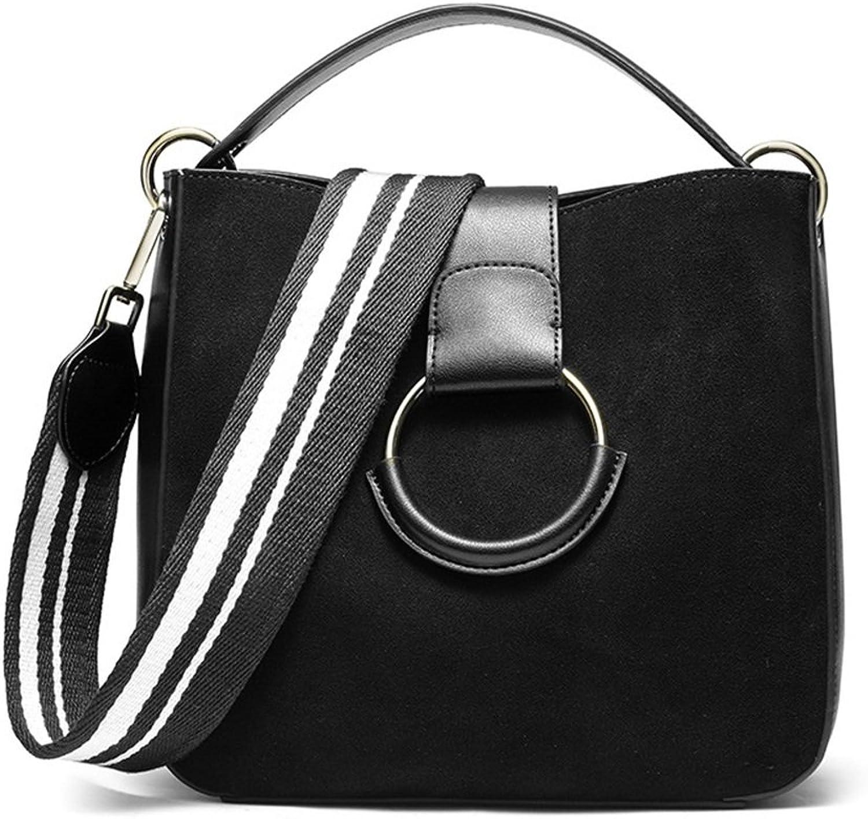 Sturdy Fashian Vintage Scrub Cowhide Handbag Wide Shoulder Shoulder Large Capacity Messenger Leather Lady Handbag Large Capacity (color   Black)