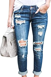 EVEDESIGN Women's Destroyed Ripped Holes Skinny Jeans Casual Distressed Slim Fit Jeans