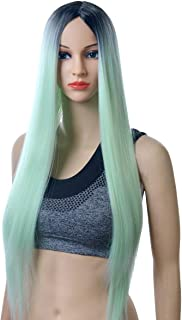 SiYi kylie Costume Long Wig For Women 27inch Dark Green jenner Cosplay Costume Wig Fancy Dress Synthetic Ombre Wigs