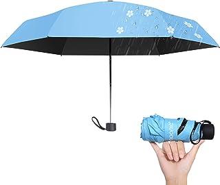 折りたたみ傘 日傘 晴雨兼用 花柄 紫外線対策 撥水加工 雨に濡れると桜柄が浮き出る傘 浮き桜 雨傘レディース 傘 UVカット 100%遮光 遮熱 耐風撥水 収納ポーチ付き 折りたたみ (ブルー)