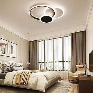 Techo LED Regulable Luz de Dormitorio Moderna Anillada 39W con luz de Techo Remota Metal Acrílico Iluminación Decorativa Foco de Techo Habitación Para niños Lámpara de Cocina, Ø52cm (Negro)