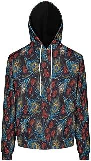 Ziwa88 Mens Hoodies Men&Women Colorful Peacock Feather Printed Retro - Black with Kangaroo Pocket Workout Blouse
