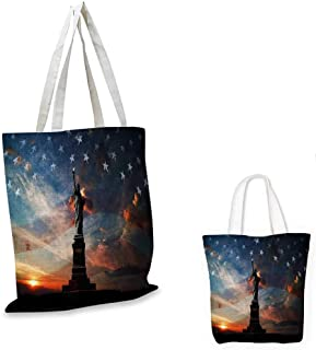 "4th of July royal shopping bag Silhouette of Statue of Liberty on USA Flag Cityscape with Dramatic Sunset Sky funny reusable shopping bag Multicolor. 16""x18""-13"""