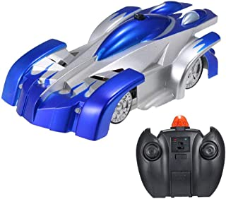GAZtoy Remote Control Transforming Wall Climbing Stunt CAR - Dual Modes 360° Rotation Anti-Gravity with LED Lights in Blue