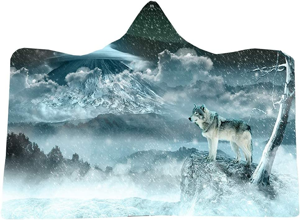 Snow Wolf Selling rankings Hooded Blanket Wearable Soft Lined Plush Fleece Mail order cheap Warm T
