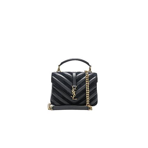 Yves Saint Laurent Medium Black College Patchwork Suede Leather Shoulder Bag  New f9110e1f4311d