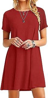 614f2c483e1 YMING Women Summer Casual T Shirt Dresses A Line Swing Simple Multicolor  Mini Dress Plus Size