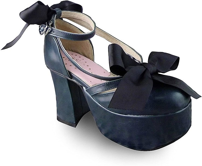 Antaina Mid Heel Deep bluee PU Lace Bow Sweet Chunky Lolita Platform shoes