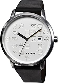ساعة رجالي من تاكس ، اسود ، جلد ، TS1403A