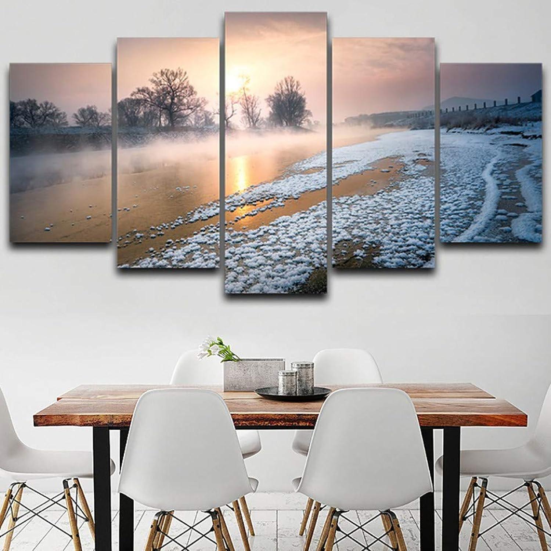 descuento WZYWLH Arte de la Parojo Parojo Parojo Fotos Decoración para el hogar HD Impreso Poster 5 Panel Soleado Niebla Niebla Paisaje Hermoso Marco Moderno Salón Pintura  buscando agente de ventas