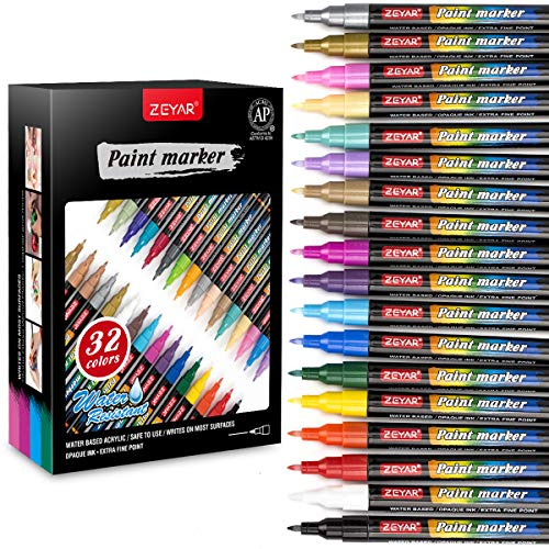 ZEYAR Acrylic Paint Pens, Water based Extra Fine Point, 32 vibrant colors, Opaque Ink, Paint Marker for Glass, Rock, Paper, Ceramic, Plastic and Non porous surfaces