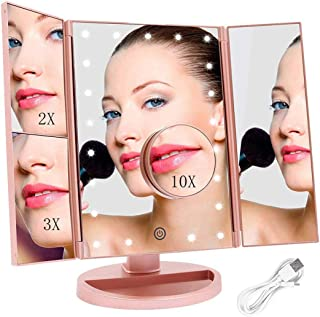 FASCINATE Espejo Maquillaje con Luz, Espejo de Mesa Trí