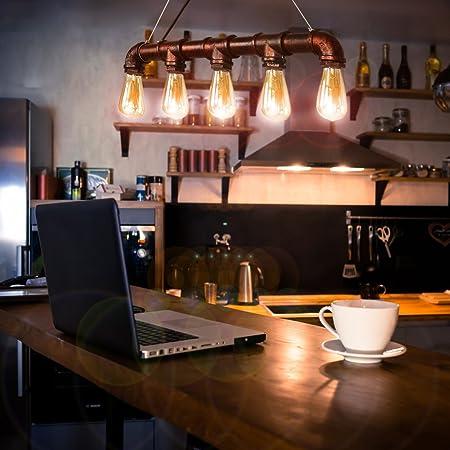CCLIFE LampeRetro, LampeVintageIndustriel Bronze en métal E27 Ampoules en Tuyau- LampeSuspensionIndustrielle, Abat-Jour Edison, PlafonnierVintage