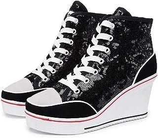 Canvas Sneaker Donna Scarpe con Tacco con Zeppa per Casual Canvas Sneaker Donna Scarpe con Tacco con Zeppa per Casual