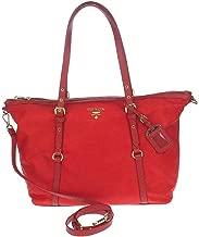 Prada Red Tessuto Nylon Saffiano Leather Trim Shopping Tote Bag 1BG253