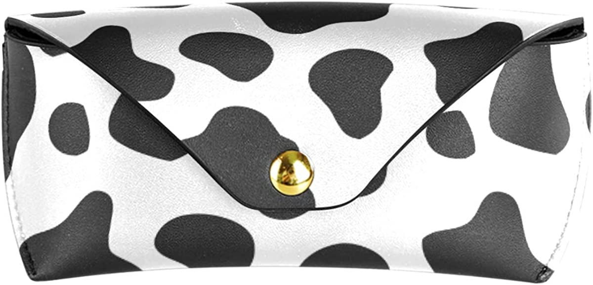 Multiuse present PU Leather Portable Sunglasses Case Eyeglasses Pouch Goggles Bag Cow Skin Abstract White Black