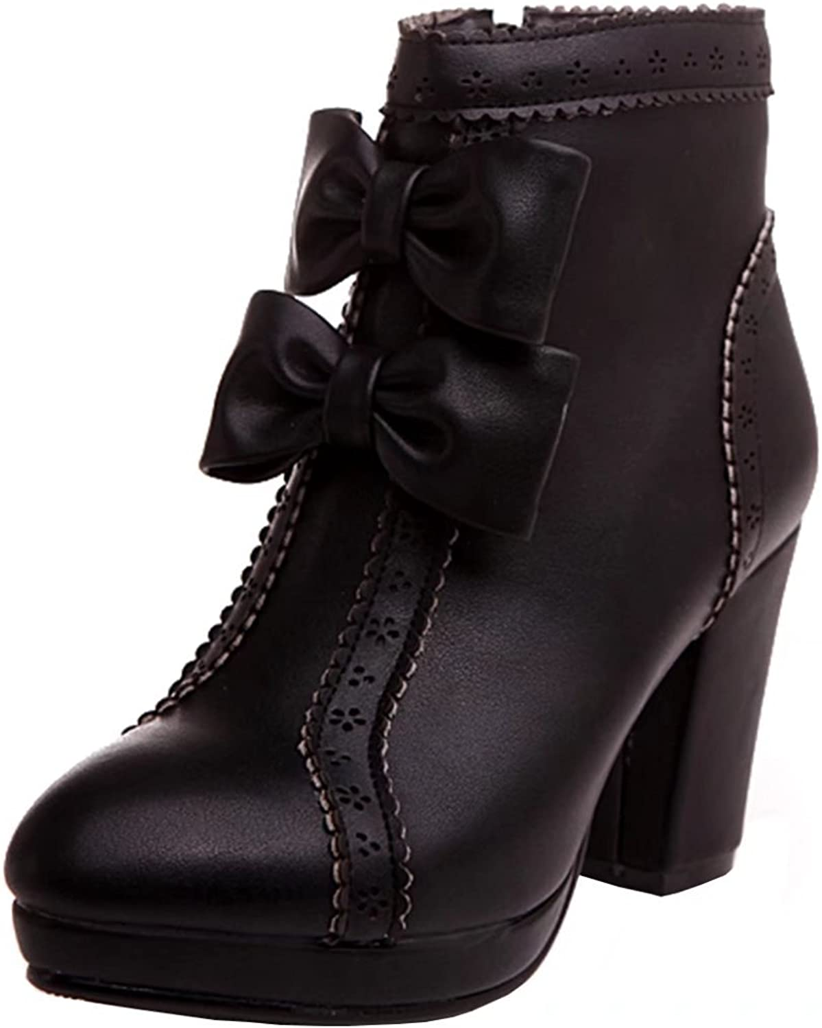 AIYOUMEI Women's Round Toe Bootie Thick Heel Autumn Winter Ankle Bootie with Bowtie