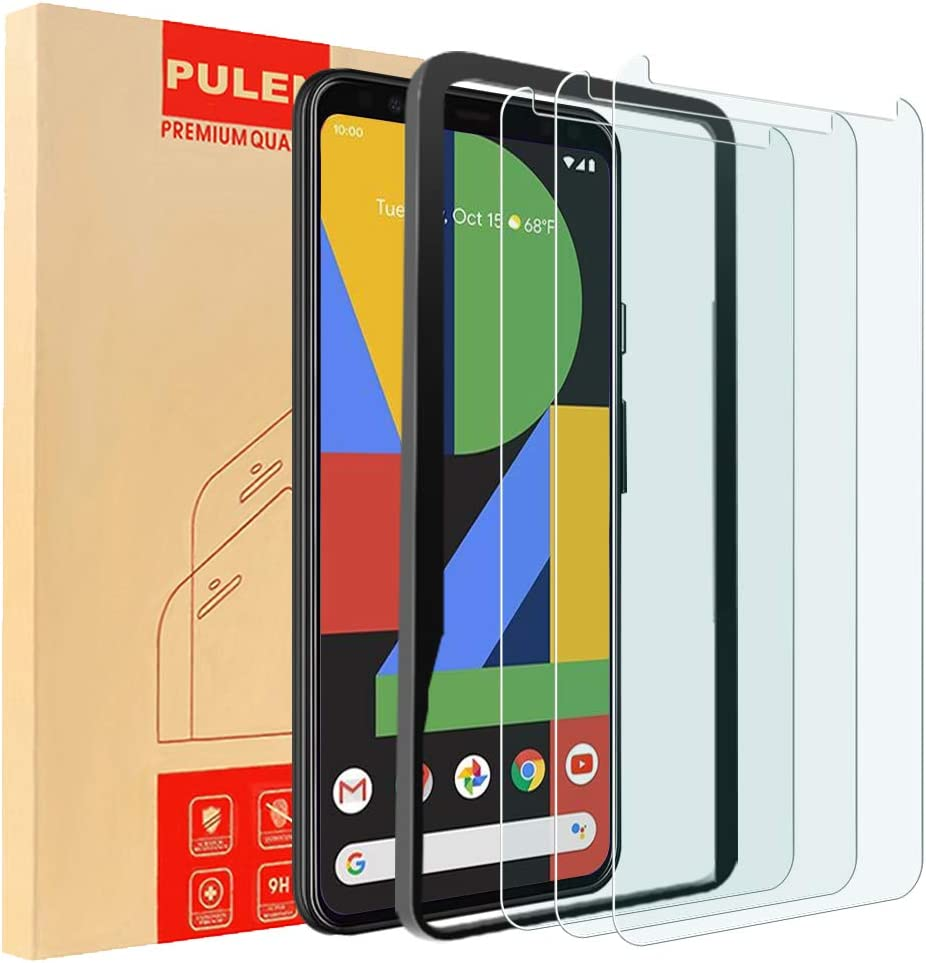 (3-Pack) PULEN for Google Pixel4 XL Screen Protector,HD Clear Scratch Resistant Bubble Free 9H Hardness Tempered Glass with Easy Installation Tray